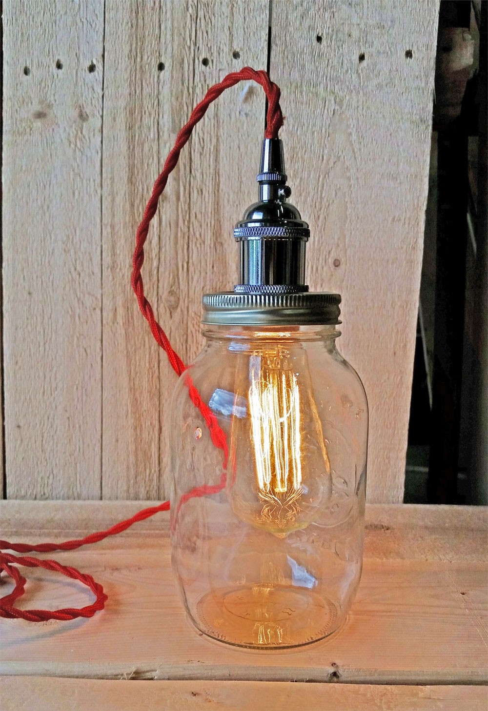 Metallic Socket with Twisted Cord Mason Jar Light DIY Kit (Red & Chrome)