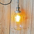 Metallic Socket with Twisted Cord Mason Jar Light DIY Kit (Black & Brass)