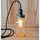 Metallic Socket with Twisted Cord Mason Jar Light DIY Kit (Black & Gunmetal)