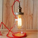 Metallic Socket with Twisted Cord Mason Jar Light DIY Kit (Red & Brass)