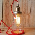 Metallic Socket with Twisted Cord - Red cord and Brass Socket