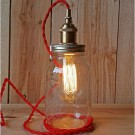 Metallic Socket with Twisted Cord Mason Jar Light DIY Kit (Red & Antique Brass)