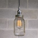 Metallic Socket with Twisted Cord Mason Jar Light DIY Kit (Black & Chrome)