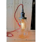 Metallic Socket with Twisted Cord Mason Jar Light DIY Kit (Red & Gunmetal)